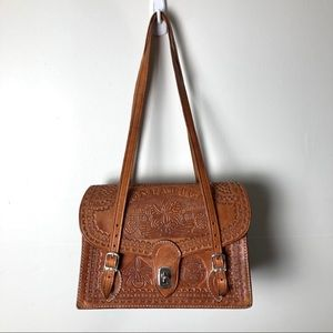 Tooled Leather Bag from Costa Rica Brown Orchids